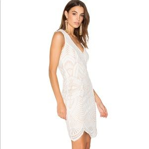 Bardot | Embroidered Mesh Dress In Lipstick Ivory